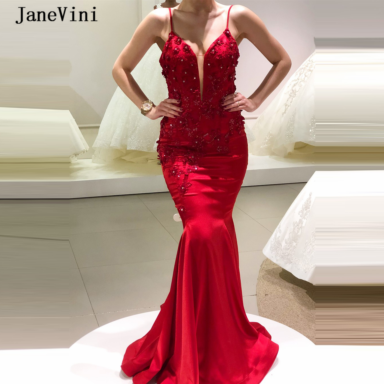 JaneVini Charming Red Mermaid Long Evening Dresses 2020 Spaghetti Straps Handmade Flowers Beading Satin Sexy Women Dinner Gowns