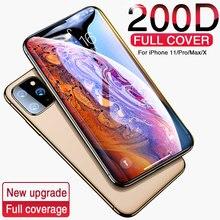 200d 풀 커버 강화 유리 아이폰 11 프로 x xr xs 최대 유리 아이폰 11 프로 스크린 프로텍터 보호 유리 아이폰 11
