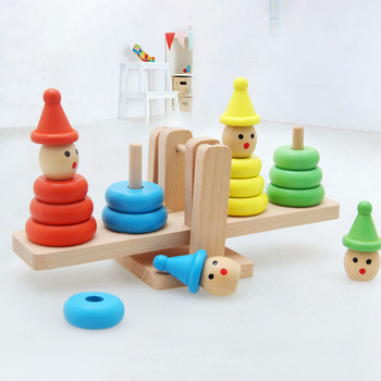 Children's Educational Teaching Aids Clown Block Balance Game Stack Tower Block Toy Game Color Clown Balance Tower Wooden Toy