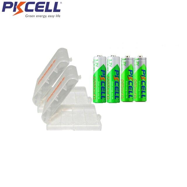 PKCELL şarj edilebilir Batteria NIMH AA ön şarjlı nimh piller aa 2200mAh 2 adet AAA 850mAh ile 2 adet 1 adet pil kutusu 2a aaa