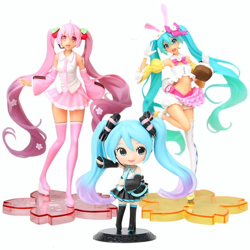 13-24cm Anime Pink Hatsune Miku Sakura Action Figures Toys Miku Speelgoed Girls PVC Figure Model Toys