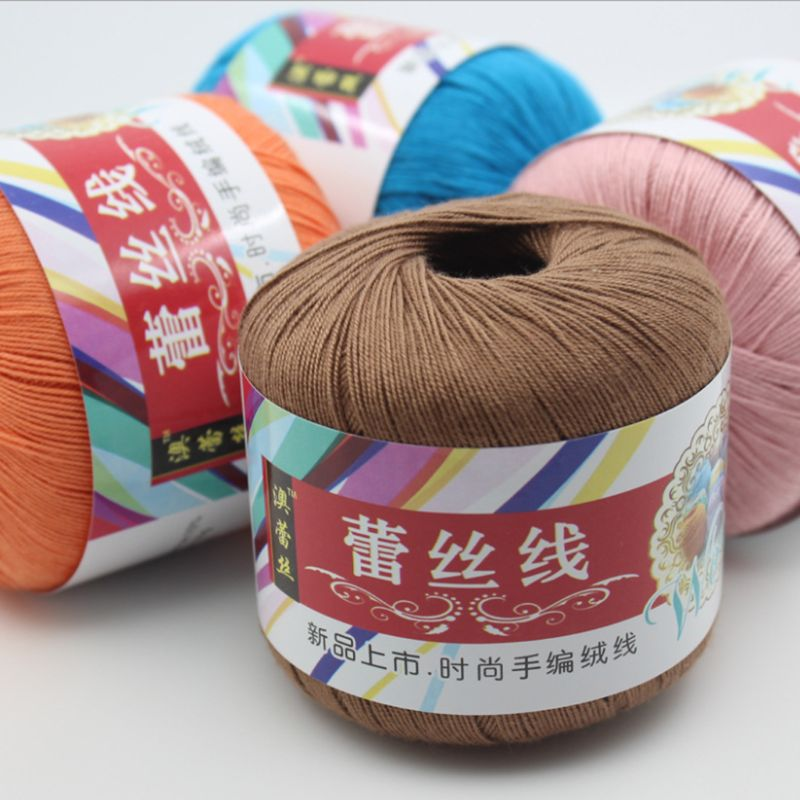 Mercerized Cotton Cord Thread Yarn DIY Embroidery Crochet Knitting Lace Sewing D08F