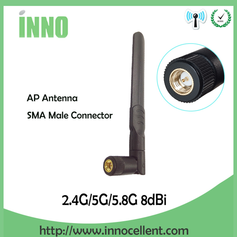 2.4GHz 5GHz 5.8Ghz Dual Band Wifi Antenna 8dBi SMA Male Connector 2.4Ghz 5G 5.8G Wi Fi Antena Aerial Wireless Router Antenne