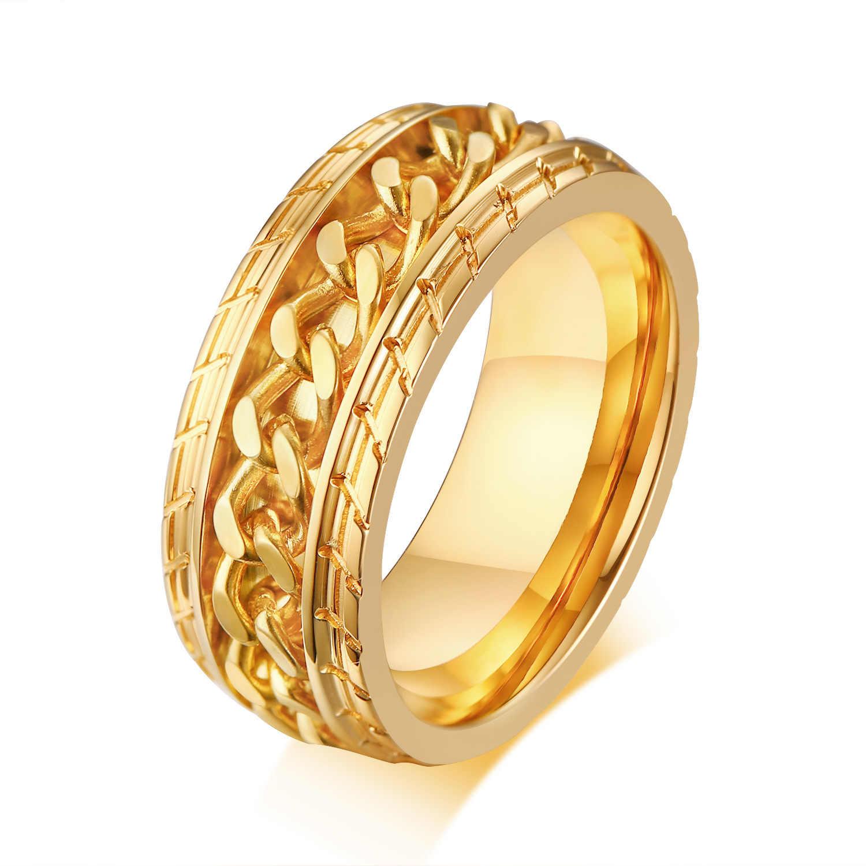 แหวนแฟชั่นผู้ชายอุปกรณ์เสริมอินเทรนด์บุคลิกภาพ Golden สีดำ 8 มม.สแตนเลส Rotatable เครื่องประดับแหวนของขวัญ