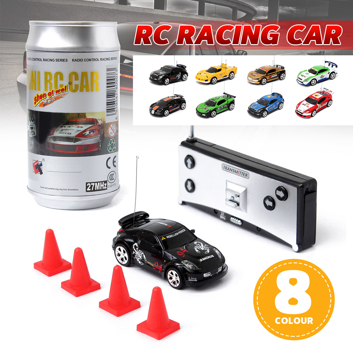 8 Colors Coke Can Mini RC Car Vehicle Radio Remote Control Micro Racing Car 4 Frequencies For Kids Presents Gifts