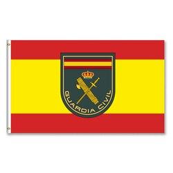 Bandeira da espanha e o brasão de armas da guarda civil 3x5ft 150x90cm espanha bandeira