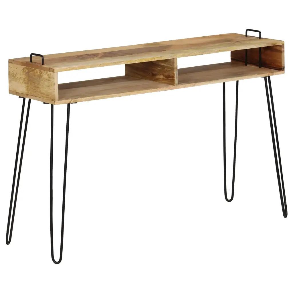 Moderne élégant Console Table Style industriel solide manguier bois 115x35x76 cm Table bureau étagère stockage pour salon décor