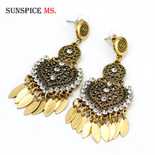 SUNSPICE MS Retro Vintage Metal Drop Earring for Women Indian Ethnic Wedding Jewelry Ellipse Iron Sheet Caucasus Hollow Pattern