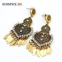 SUNSPICE MS Retro Vintage Metal gota pendiente para las mujeres étnica india boda joyería elipse hoja de hierro Cáucaso diseño hueco