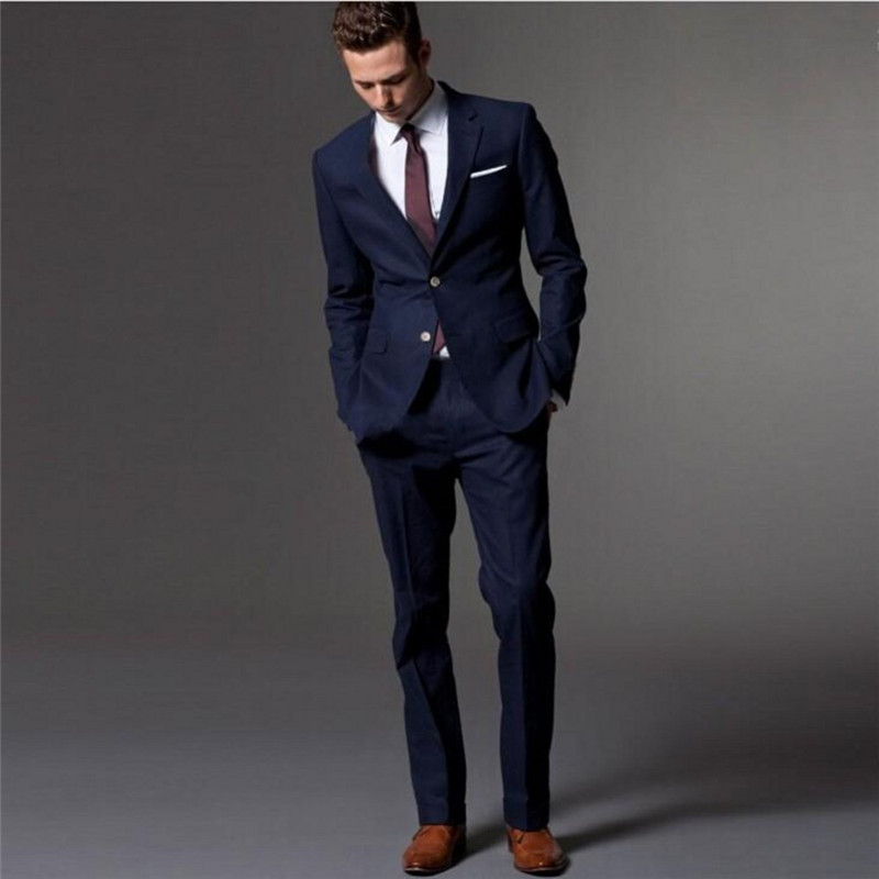 Spring Tailored Mens Formal Party Suits Two Piece Navy Blue Bridegroom Wedding Tuxedos Custom Online Party Suit (Jacket+Pant)