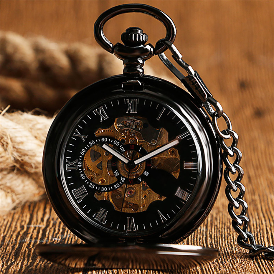 Antique Mechanical Pocket Watch Automatic Self-Winding Roman Numerals Display Hanging Chain Hollow Smooth Hunter Pendant Clock