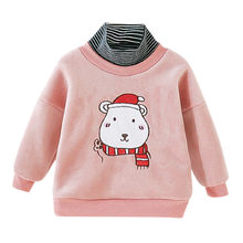 Baby Cute Christmas Bear Cotton Sweatshirt T-shirt Tops Kids Baby Boy Girl Turtleneck Warm First Birthday Baby Tops Clothes #Q(China)