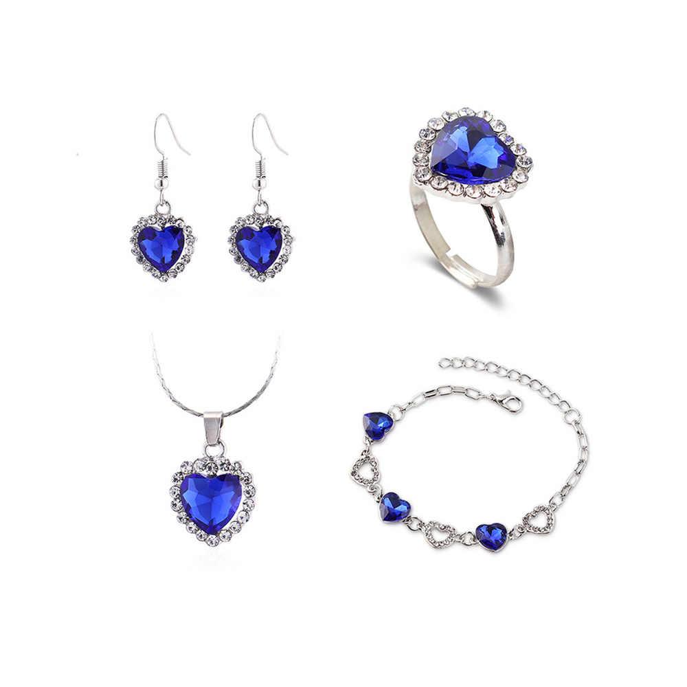 נשים כחול תכשיטי סטי האופנה קריסטל תליון שרשרת Drop עגילי לב צמיד טבעת סט כסף צבע תכשיטי מתנה