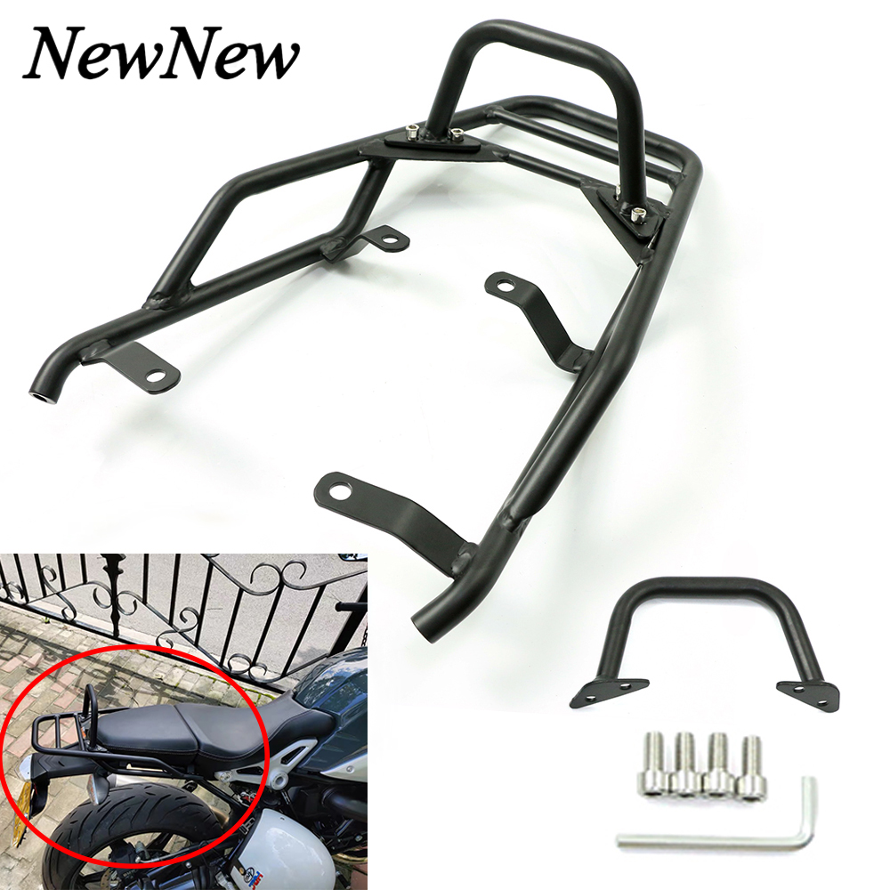 Motorcycle Rear Luggage Rack Carrier Support Shelf Holder With Passenger Hand Grip Rail Bar For BMW R NINE T NineT R9T 2014-2018