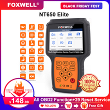 Foxwell NT650 Elite OBD2 Car Diagnostic Tool Engine ABS SRS Airbag 20 Reset function Auto Scanner Automotivo OBD 2 Code Reader