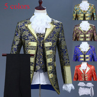 5 Colors Deluxe Victorian King Prince Costume For Men Vest Jacket Coat Blazer Suit Stage Theater Cosplay Outfit Pants Jabot Tie