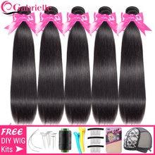 Vente en gros 3-5-10 paquets brésiliens Extensions de cheveux raides cheveux humains 30 40 pouces faisceaux couleur naturelle Remy cheveux Gabrielle
