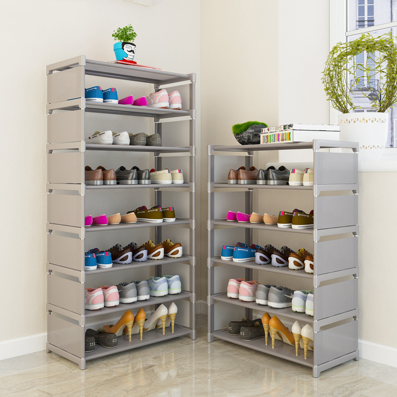 Simple Shoe Rack Nonwovens Steel Tube Easy Assembled Stand Holder Space-saving Storage Shoes Organizer Shelf Home Shoe Cabinet