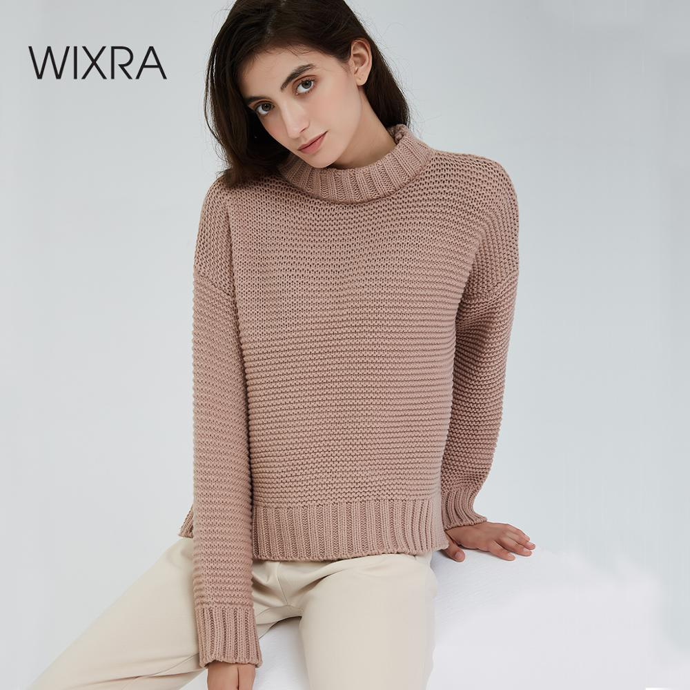 Wixra femmes Pull pulls élégant ample chaud épais épais Pull pulls couleur classique 2019 automne hiver