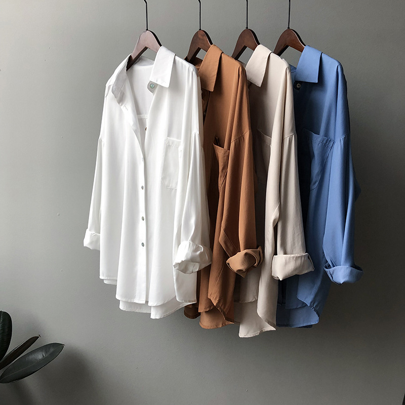 Blouse Women 2020 Spring New Korean  Simple Solid Color Long Sleeve Lapel Shirt Single Breasted Shirt Female