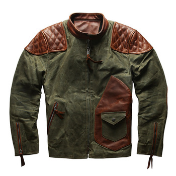 1937 Read Description! Asian size Army style genuine cow leather canvas coat cowhide leather wax water proof jacket m65 0003 read description asian size duck feather super warm m51 m65 parka jacket lining