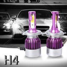 Top-2pcs C6 светодиодный автомобилей головной светильник комплект COB H4 36 Вт 7600LM белый светильник лампы фиолетовый