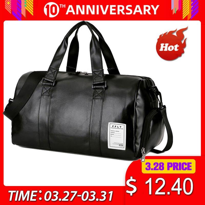 Gym Bag Leather Sports Bags Big Men Training Tas for Shoes Lady Fitness Yoga Travel Luggage Shoulder Black Sac De Sport XA512WD