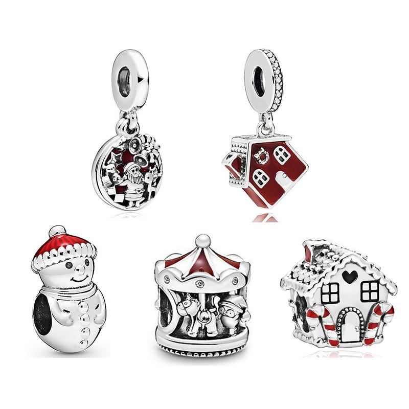 2019 New Original 925 Sterling Silver Cosy Christmas House Charm Red Enamel Fit Pandora Bracelet Bangle Diy Women Jewelry Beads Aliexpress