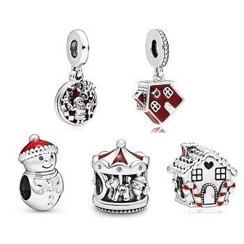 2019 New Original 925 Sterling Silver Cosy Christmas House Charm Red Enamel Fit Pandora Bracelet Bangle DIY Women Jewelry