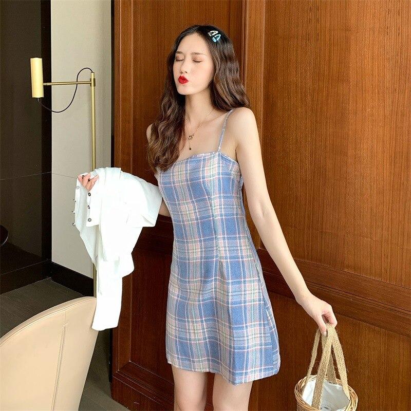 Lingya wind color plaid slim sling milk silk dress women's 2021 new summer thin