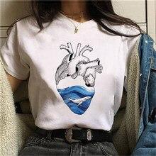 T-shirts de proteção ambiental do tema das camisetas das mulheres engraçado camiseta branca topos casuais simples curto camiseta