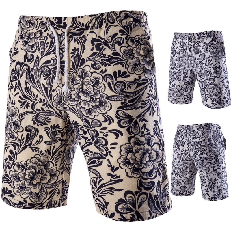 2019 Summer Wear New Style Men Casual Linen Beach Shorts Printed Shorts 8861