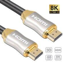 8K כבל HDMI 4K 60HZ UHD HDR 48Gbps V2.1 עבור redmi S9 S10 מסך טלוויזיה PS4 ספליטר מתג אודיו וידאו כבל 8K HDMI 1m 2m 3m