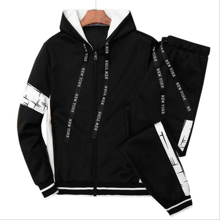 Male Casual Solid  Print Sportswear Zipper Jacket+Sweatpants Sets Mens Tracksuit Autumn Men Hoodies Set