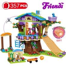 357pcs 친구 모험 캠프 트리 하우스 엠마 미아 빌드 벽돌 그림 장난감 아이들을위한 lys와 호환