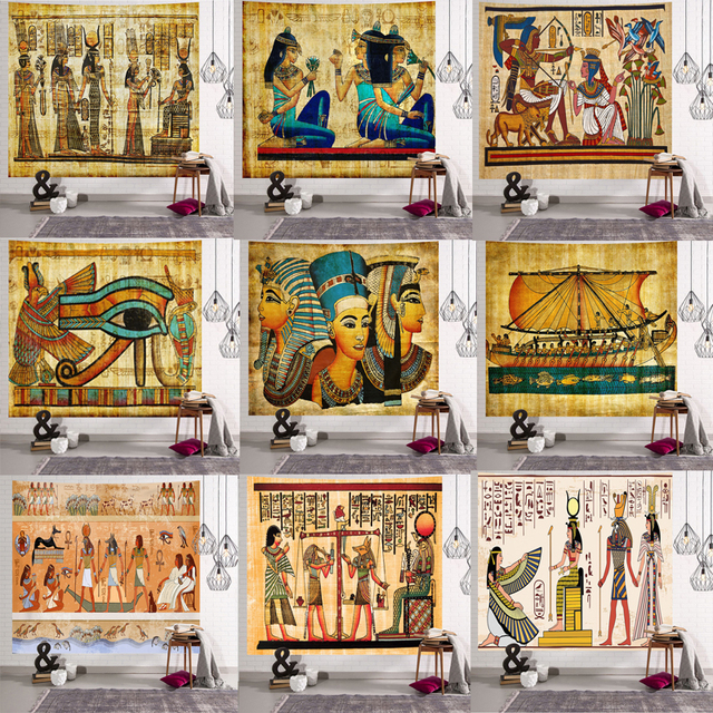 Yellow Ancient Egypt Tapestry Wall Hanging Old Culture Printed Hippie Egyptian Tapestries Wall Cloth Home Decor Vintage Tapestry