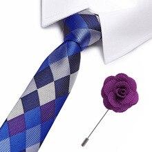 Luxury Blue Plaid Neck Tie for Men Necktie Gravatas Lattice Stripe Brooch Neckties Business 7.5cm Width Formal Men Classic Ties fashionable star and stripe pattern patchwork 5cm width tie for men