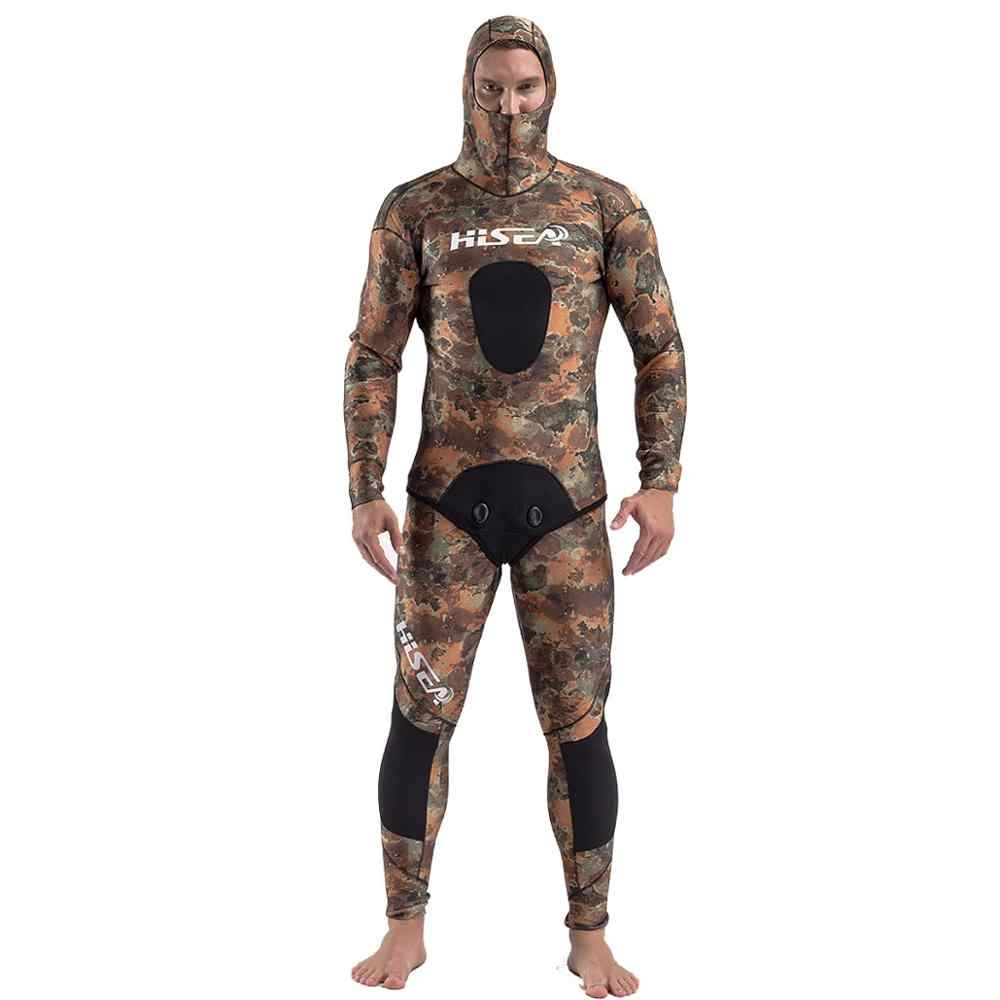 Hisea 3.5mm Camouflage wetsuits men spearfishing  suit  diving suit wetsuit Fishing and hunting clothing