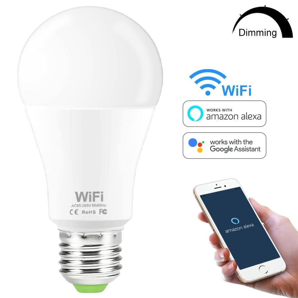 Светодиодная лампа E27 B22 с регулируемой яркостью, умный ночник с Wi-Fi и управлением через приложение, совместим с Amazon, Alexa, Google Home, 15 Вт