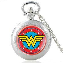 2020 Новые Поступления Чудо-Женщина Символ Стеклянный Купол Кварцевые Карманные Часы Классические Мужские Женщин Серебряный Кулон Ожерелье Подарки