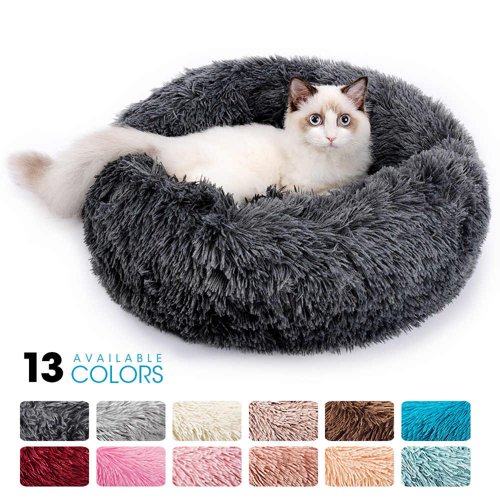 Yuvarlak peluş kedi yatak evi kedi matı kış sıcak uyku kediler yuva yumuşak uzun peluş köpek sepeti evcil hayvan yastığı taşınabilir evcil hayvan malzemeleri