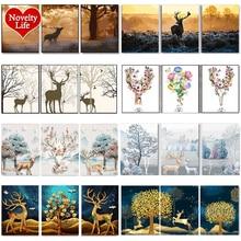 DIY картина маслом по номерам, олень, деревья, Триптих, картины с животными, абстрактная краска, настенная наклейка, раскраска ландшафта, подарок, домашний декор