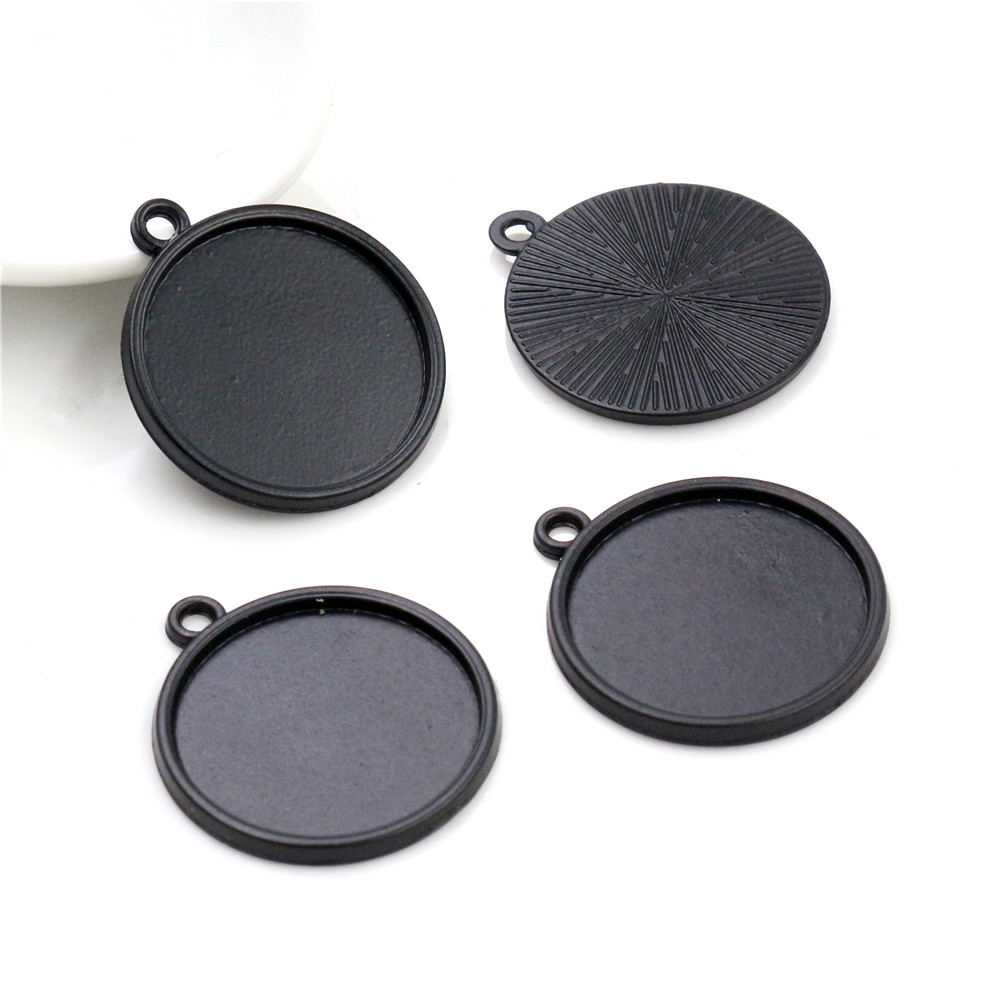 10pcs 20mm Inner Size Black Classic Style Cabochon Base Setting Charms Pendant (D1-01)