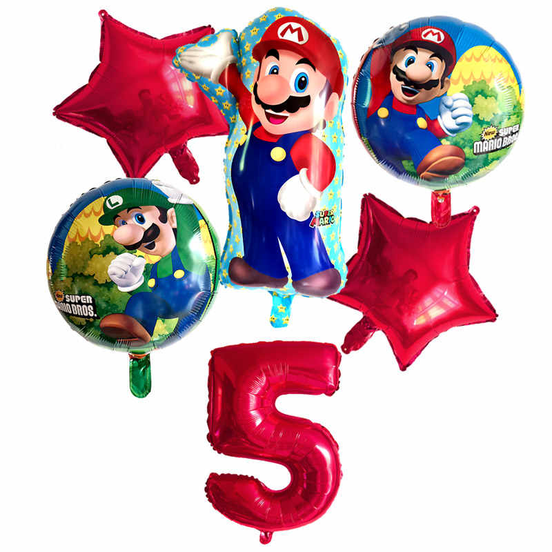 6 Pieces Super Mario Ballons 32 Pouces Nombre Ballons Garcon Fille Fete D Anniversaire Mario Luigi Bros Mylar Bleu Rouge Ballon Ensemble Decor Aliexpress