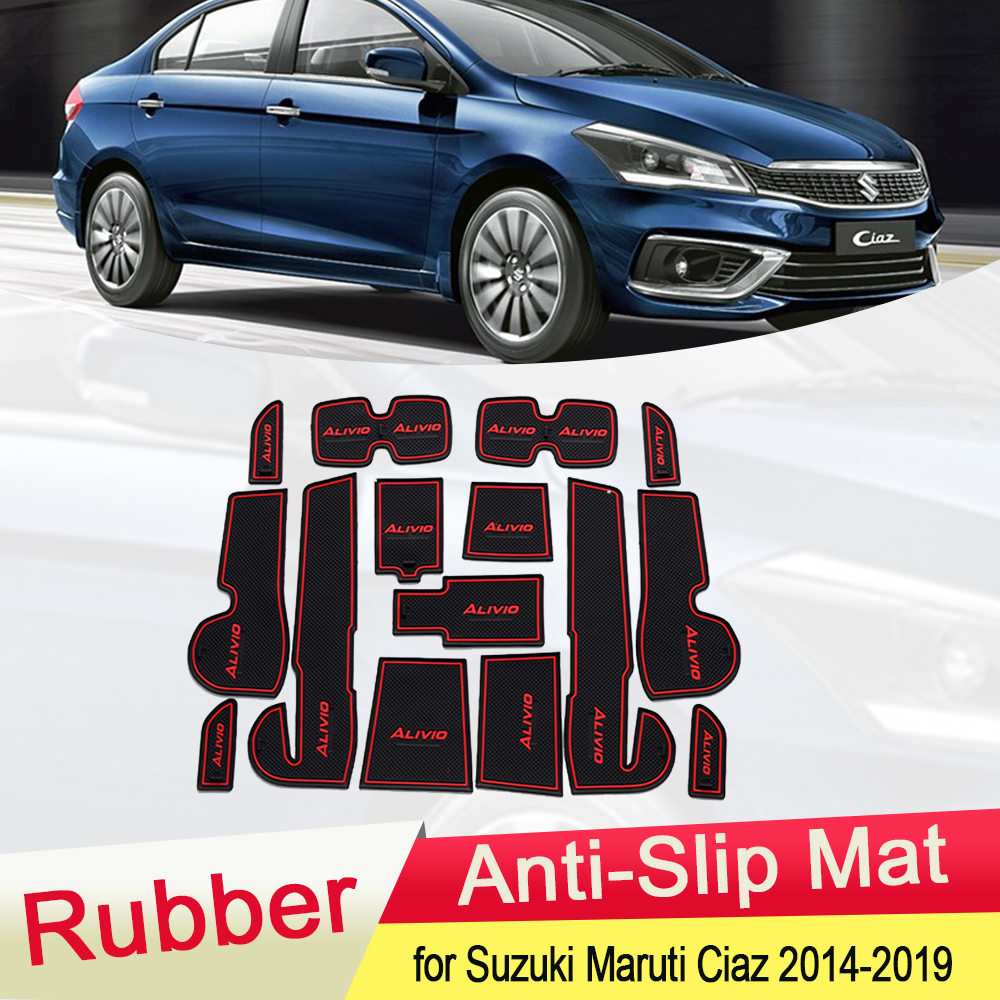 For Suzuki Maruti Ciaz 2014~2019 Rubber Anti-slip Mat Door Groove Cup Pad Gate Slot Cushion Coaster Accessories 2015 2016 2017