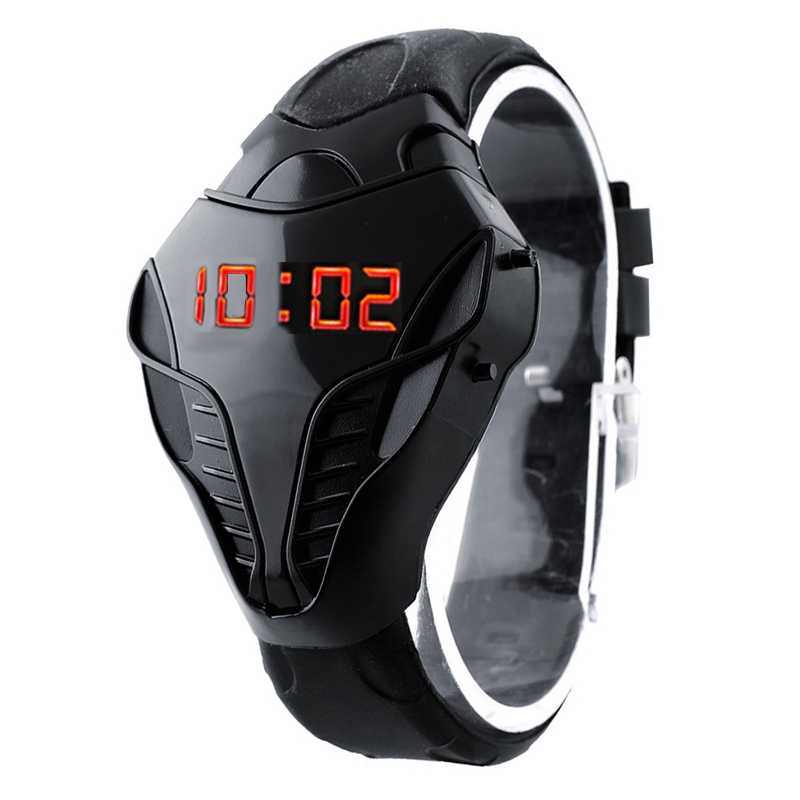 Fashion Creative Watches Men Triangle Cobra LED Digital Sports Plastic Relogio Masculino