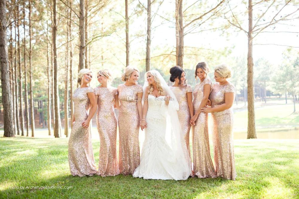 Long Mermaid Gold Sequins Bridesmaid Dresses 2020 Elegant Wedding Party Guest Gown Sleeved Scoop Neck robe demoiselle d'honneur