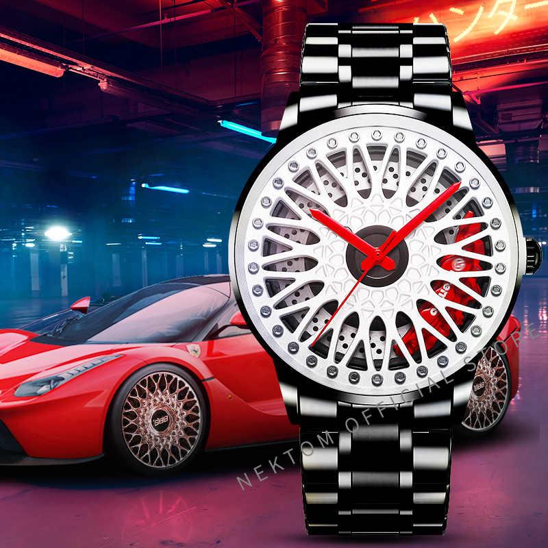 Nektom masculino roda do carro relógio clássico moda à prova dwaterproof água esporte relógio de quartzo masculino com aro hub relógio de corrida quartzo