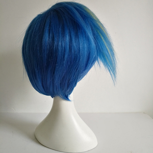 Image 4 - Galo Thymos Wig PROMARE Burning Rescue Cosplay Wig Short Straight Blue Heat Resistant Synthetic Hair Anime Wigs + Wig Cap