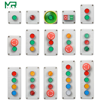 цена на Control box with light button switch 24V / 220V with emergency stop button self reset industrial switch waterproof box